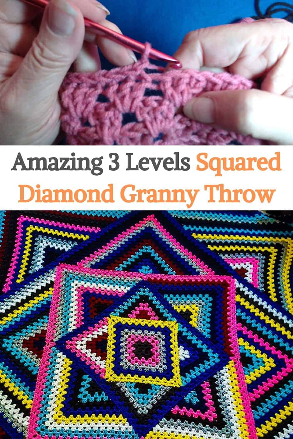 Squared Diamond Granny Throw