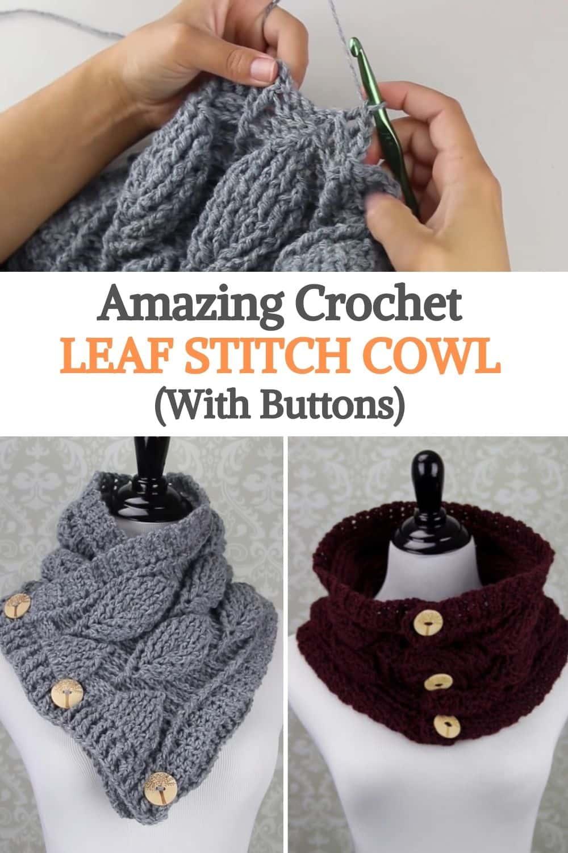 Crochet Leaf Stitch Cowl