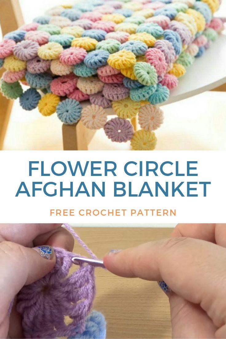 Flower Circle Afghan Blanket