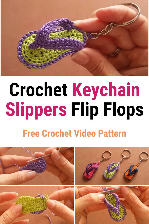 Crochet Keychain Slippers Flip Flops