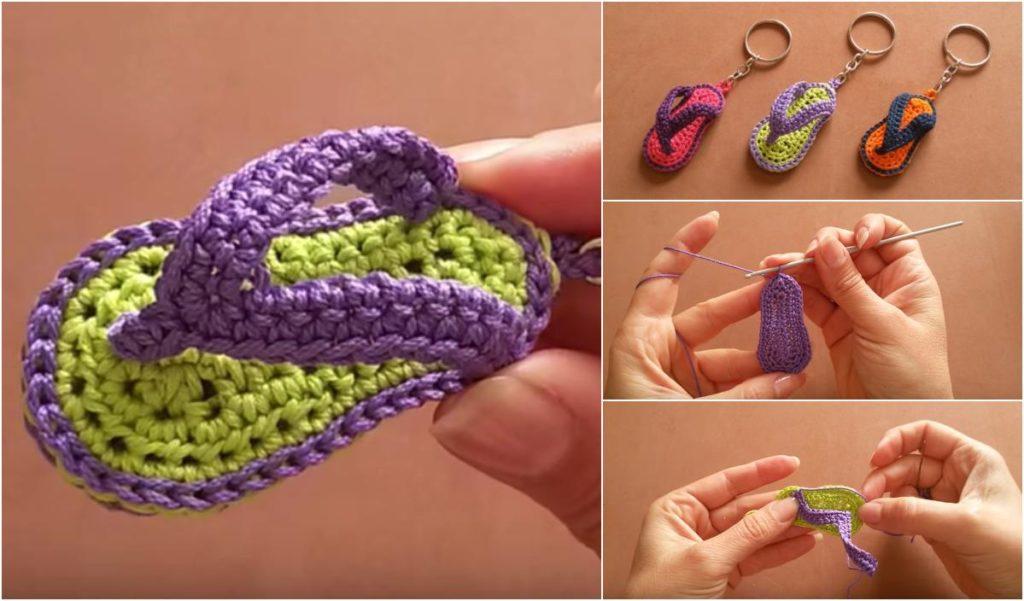crochet keychains slippers flip flops