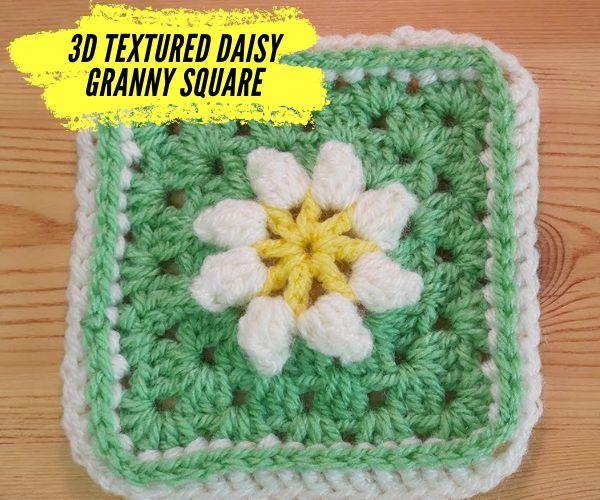 3D Textured Crochet Daisy Granny Square