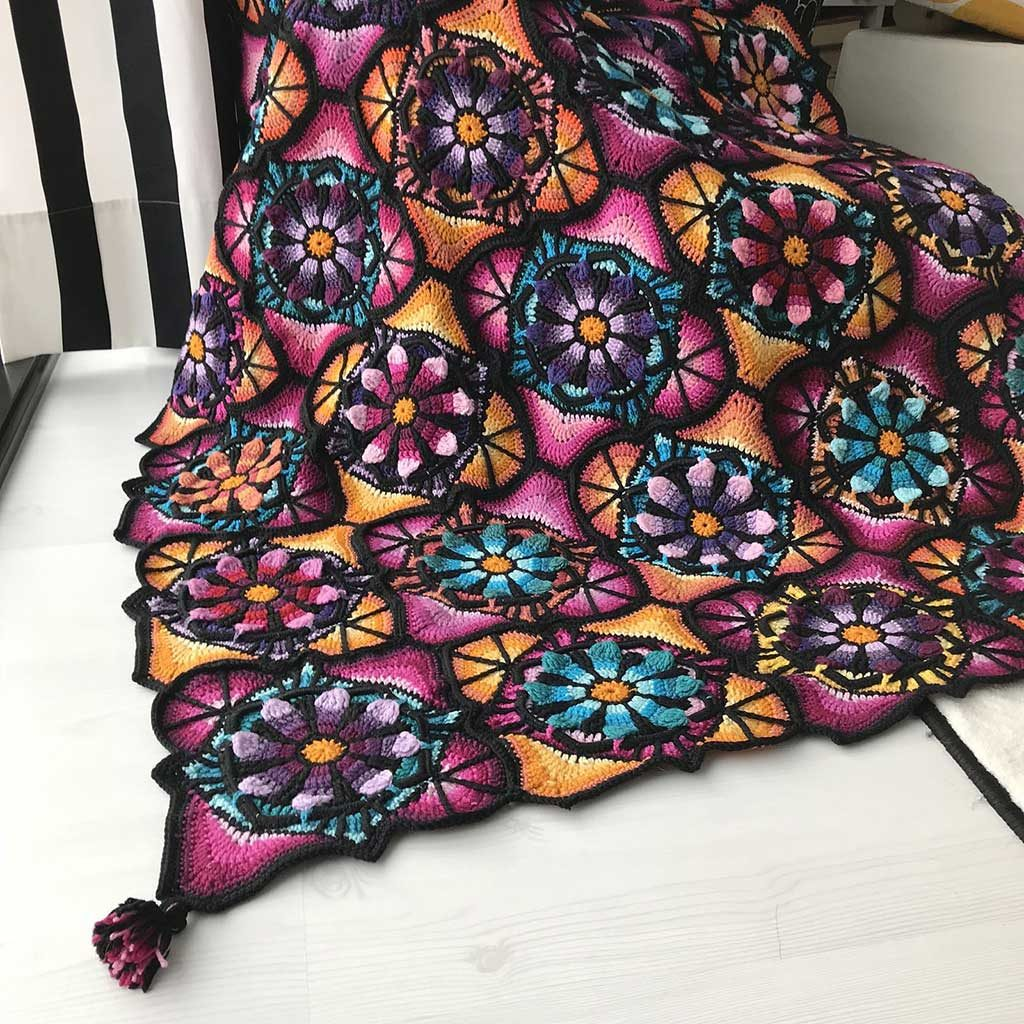 Stained Glass Flowers Blanket