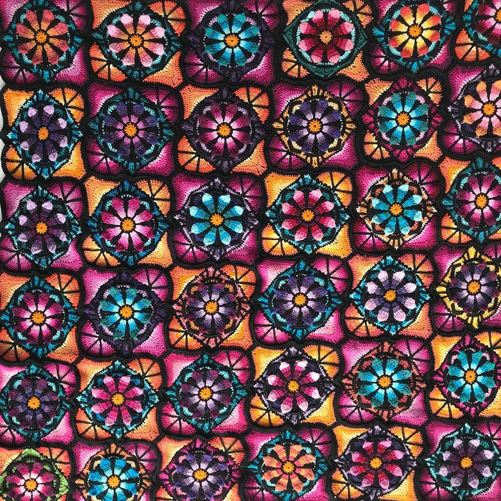 Stained Glass Flowers Blanket Free Crochet Pattern