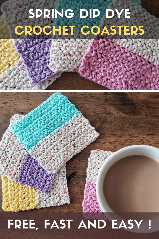 Spring Dip Dye Crochet Coasters