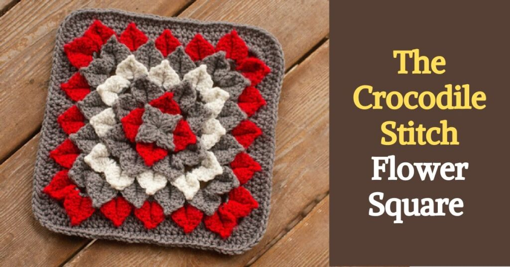 Crocodile Stitch Flower Square