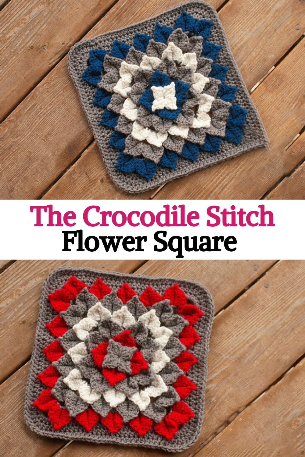 The Crocodile Stitch Flower Square