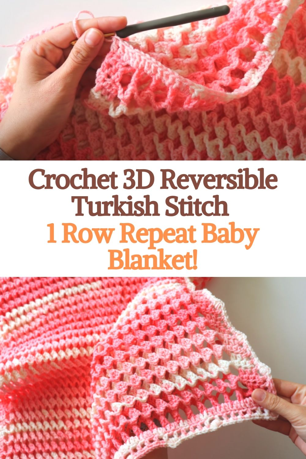 Crochet 3D Reversible Turkish Stitch 1 Row Repeat Baby Blanket!